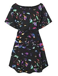las aves de las mujeres imprimieron el vestido suelto (sin correa)