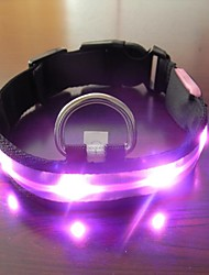 Adjustable Fashionable Flashing Nylon LED Light Pet Dog Collar Safety Collar (DD-WT, Pink, S)