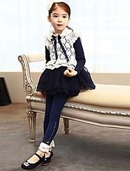 elegantes e confortáveis leggings de renda cor pura da menina