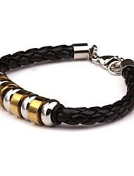 herenmode persoonlijkheid titanium stalen negen secties gouden indirecte leer gevlochten armbanden