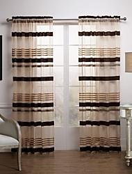 Dois Painéis Tratamento janela Moderno , Riscas Sala de Estar Poliéster Material Sheer Curtains Shades Decoração para casa For Janela