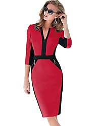 Women's Work Sheath Dress,Color Block V Neck Above Knee ¾ Sleeve Red Spring / Summer / Fall / Winter