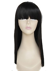24 Inch Long Full Bangs Straight Black High Temperature Fiber Synthetic Wigs