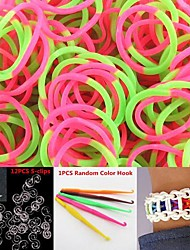600PCS Pink&Green 2-Segment DIY Twistz Silicone Rubber Bands for Rainbow Loom Bracelets with Hook&S-clips