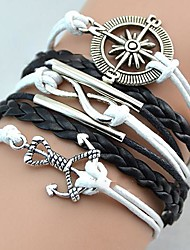 Lureme®European Style Men's Compass Anchor Multi Friendship Woven Bracelet Christmas Gifts