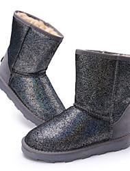 couro longo vaca shinning botas térmicas das mulheres