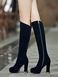 Women's Shoes Platform Round Toe Chunky Heel Knee High Boots with Zipper