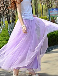 Women's Gauze Casual High Waist Fluffy Tutu Maxi Skirt