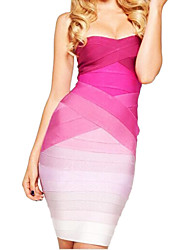 strapless vestido bandage ombre das mulheres