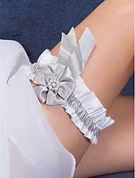 cetim e pérola garter casamento flor