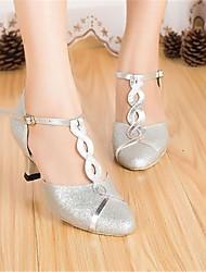Customizable Women's Dance Shoes Modern Paillette Customized Heel Silver