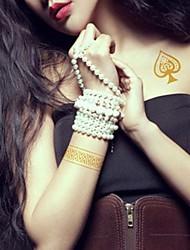 2Pcs Hearts Poker  Jewelry Gold Glitter Tattoo Stickers Temporary Tattoos