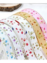 3/8 Inch Romantic Rose  Pattern Rib Ribbon Printing Ribbon- 25 Yards Per Roll (More Colors)