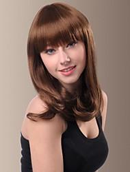 Sweet Full Bangs Medium Length Slightly Curly Hair Wigs