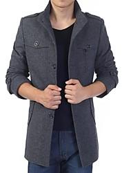 Men's Styish Stand Collar Long Sleeve Tweed Coat