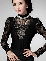 Women's Lace Black Blouse , Stand Long Sleeve Lace/Beaded