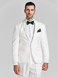 White Polyester Tailored Fit Two-Piece Tuxedo