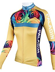 PaladinSport Women's Yellow Rose  Spring and Summer Style 100% Polyester  Long Sleeved Cycling Jersey