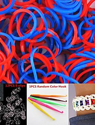600PCS Red&Blue 2-Segment DIY Twistz Silicone Rubber Bands for Rainbow Loom Bracelets with Hook&S-clips