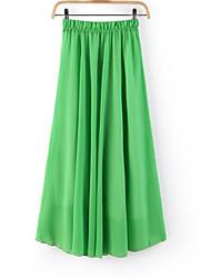 Señora de la mujer del color puro de la cintura elástico plisada Faldas largas dinero completo con falda vestido de falda La Playa