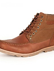 Men's Shoes Casual Leather Boots Brown/Khaki
