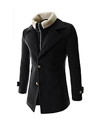Men's Lapel Removable Keep Warm  Long Sleeve Coat