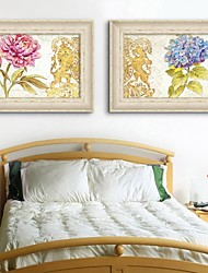Framed Canvas Art, Flowers Framed Canvas Print Set of 2
