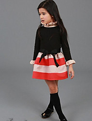 Girl's High Neck Ruffle Side Stripe Stitching Self Belt Long Sleeve Dress