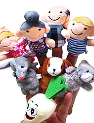 8PCS The Enormous Turnip (Farmers Version) Story Plush Finger Puppets Kids Talk Prop