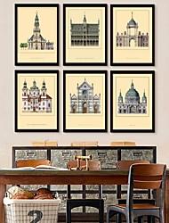 Framed Canvas Art, European Architecture Framed Canvas Print Set of  6