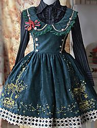 infante lolita marier-go-round motif velours vert robe gothic lolita noir