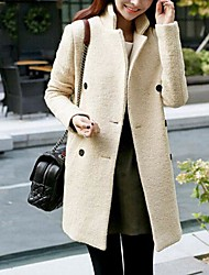 Women's Double Breasted Long Sections Of Wool Coat