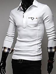 Men's Korean Sticking Cloth Plaid Cloth Stitching Long Sleeved POLO Shirt