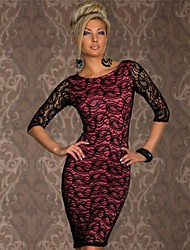 Beauty 2014 New Vestidos Femininos Women Full Lace Embroidery Bodycon Party Dress 9009
