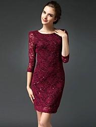 Women's Lace Paillette Slim Dress