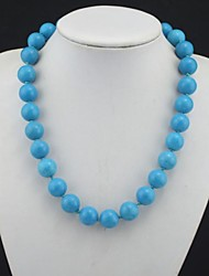Toonykelly®Fashionable Natural Real Blue Turquoise Stone Bead Necklace(1 Pc)
