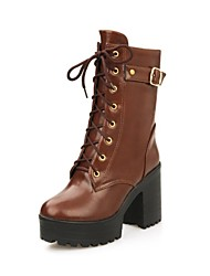Women's Shoes Fashion Boots Chunky Heel  Mid-Calf Boots with Buckle More Colors available