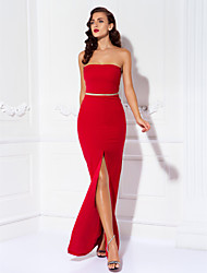Homecoming Prom/Military Ball/Formal Evening Dress - Ruby Sheath/Column Strapless Floor-length Jersey