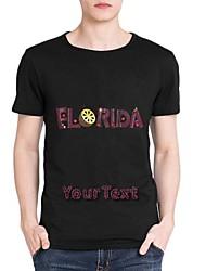 strass personalizado t-shirts de algodão florida masculina padrão mangas curtas