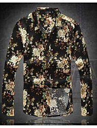Men's Korean Slim Fit Casual Flower Long Sleeved Linen Shirts