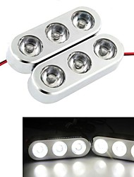 2Pcs 3W 6 LED Car Truck Strobe Emergency Warning Light DC 12V White + Controller