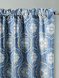 Philips Young - (Two Panels) Contemporary Navy Blue Elegant Floral Curtain