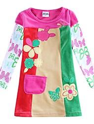 vestido de pana cabritos del vestido ropa florales flor de la muchacha bordada con los niños de la manga blancos vestidos estampados azar