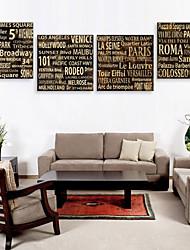 Impresión de lienzo estirado palabras y ciudades de películas y series occidentales juego de 4 1301-0157