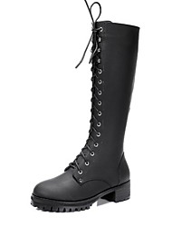 Women's Shoes  Round Toe Chunky Heel Mid-Calf Boots