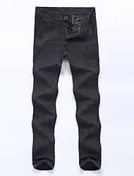 Men's Casual Straight Ramie Cotton Long Pants