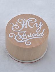vintage bloemmotief woord ronde houten rubberen stempel (mijn vriend)