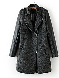 Women's Leather Stitching Lamb Fur Coat
