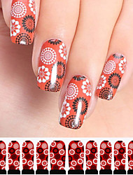 12PCS Circle Pattern Red Watermark Nail Art Stickers C3-004