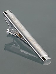 Gift Groomsman Personalized Men's Gift Silver Metal Engraved Tie Clip With Gift Box